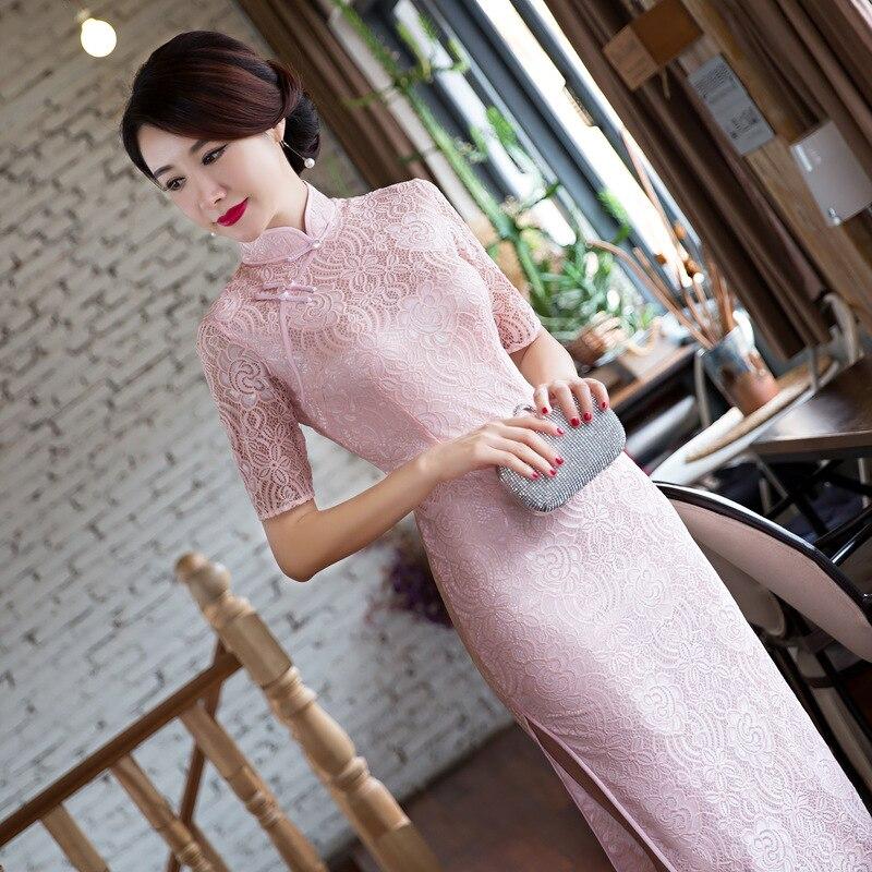 Pink Vintage font b Women s b font Lace Long Cheongsam font b Fashion b font