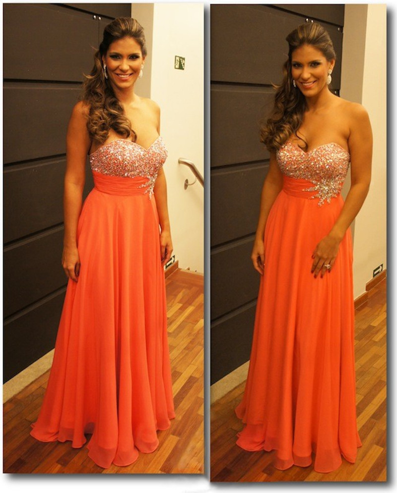 Sexy Strapless Prom Gown Sweetheart Crystal Beading Tops Chiffon Sleeveless Long Bridesmaid Dress
