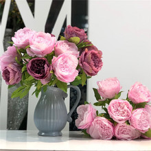 Flone 9 Heads Artificial Peony Flower Simulation Bouquet Fake Silk Flowers Wedding Home Party Wall Decor Floral