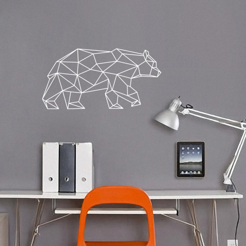 Buy geometric bear wall decals home decor - Childrens bedroom wall stickers removable ...