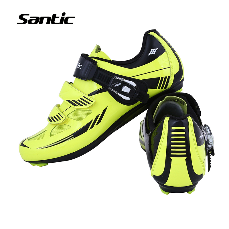ФОТО Santic Men Road Cycling Shoes Outdoor Sports Breathable Road Bike Shoes Auto-Lock Bicycle Shoes Zapatillas Ciclismo