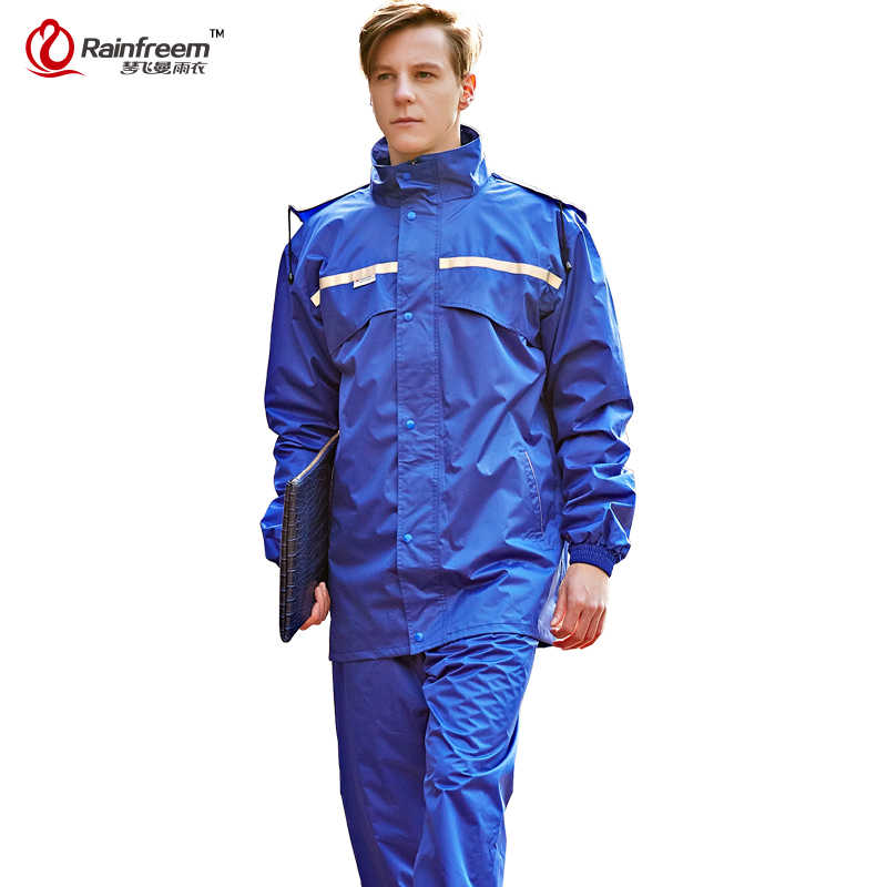 Rainfreemに不透過性レインコート女性/男性フードレインポンチョ防水レインジャケットパンツスーツレインウェア男性オートバイ雨具