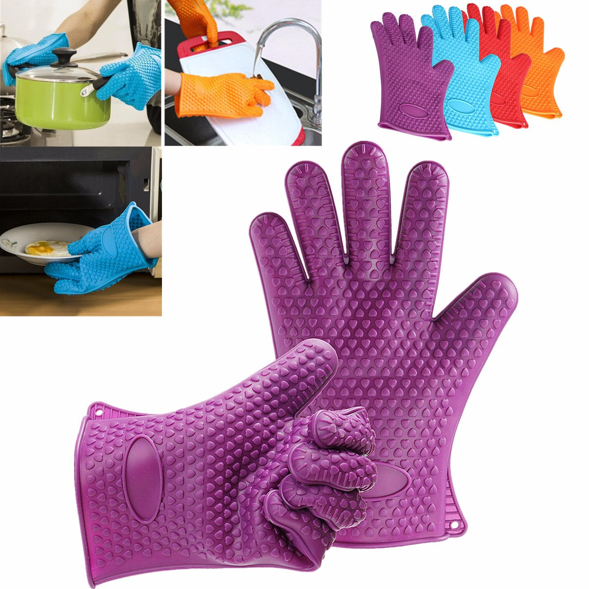 1 Pair Silicone Kitchen Heat Resistant Gloves Oven Grill Pot Holder BBQ Cooking Protective gloves цена
