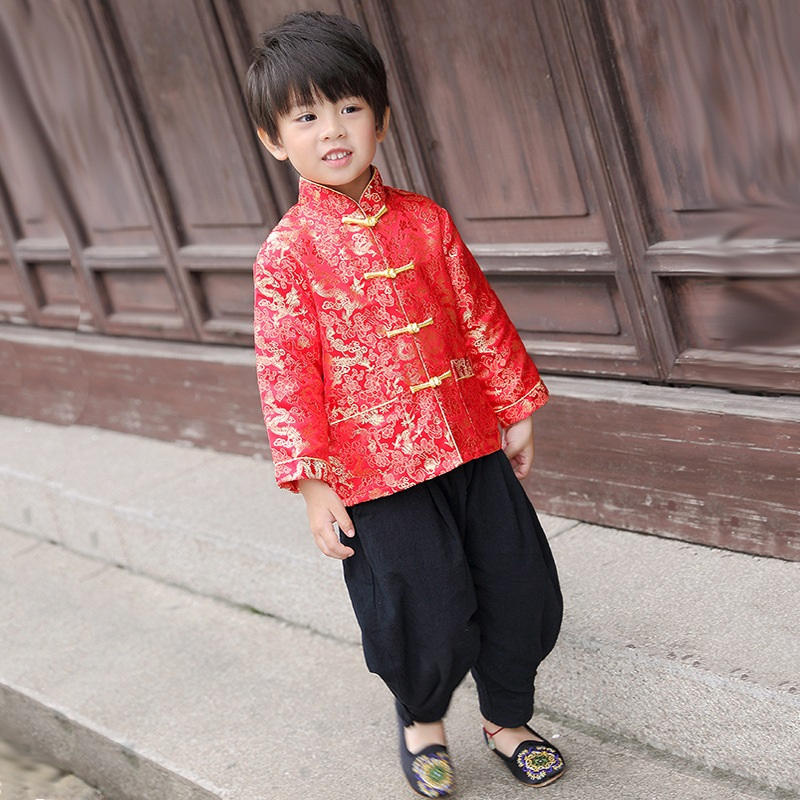 Chinois Costumes Dragon Du Enfants Fête Manteau Rouge Printemps 1qUtw8Wn