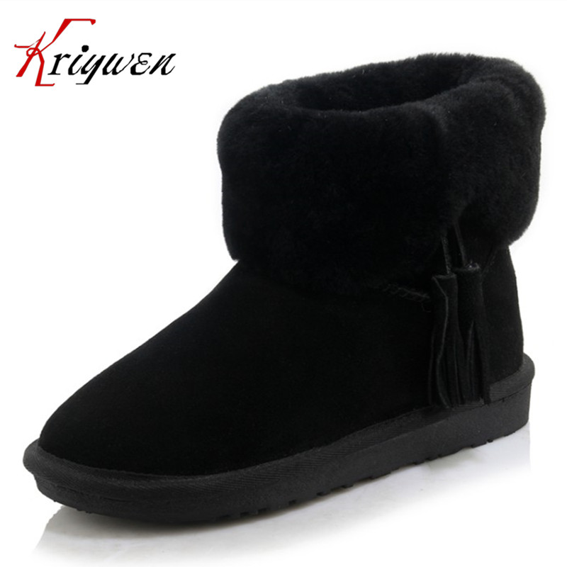ФОТО Large size 34-43 Retro style fringe women ankle boots tassel round toe purple pink beige keep warming snow boots plush shoes