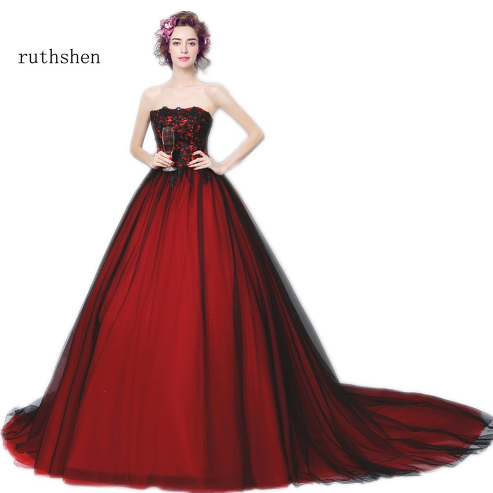 ruthshen Black And Red Evening Dresses 2018 Strapless Lace Appliques ...