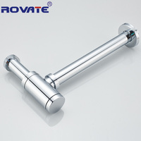 ROVATE Siphon Drainer Deodorant Type Chrome Plated Basin Water Drain Pipe Into The Wall Drainage Bathroom