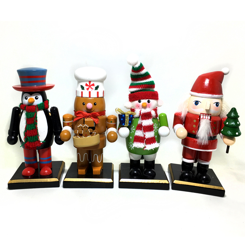 HT130 free shipping 16cm Santa Claus Penguin Snowman Gingerbread Nutcracker Puppet Combination Children Christmas Toys Gift пинетки митенки blue penguin puku