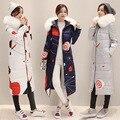 Uwback 2016 New Winter Jacket Women Long Slim Faux Fur Hooded Coat Women Print Windbreak Slim Winter Parkas Mujer TB1191