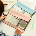 PU A4 Document bag simple transparent office bill/note/file folder/bag/pouch with Snap button Cell phone pocket flat briefcase