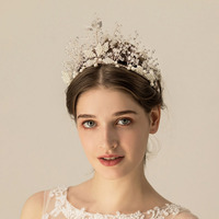 SLBRIDAL Handmade Wired Silver Rhinestones Crystal Pearls Wedding Tiara Bridal Princess Crown Women Hair Jewelry Accessories