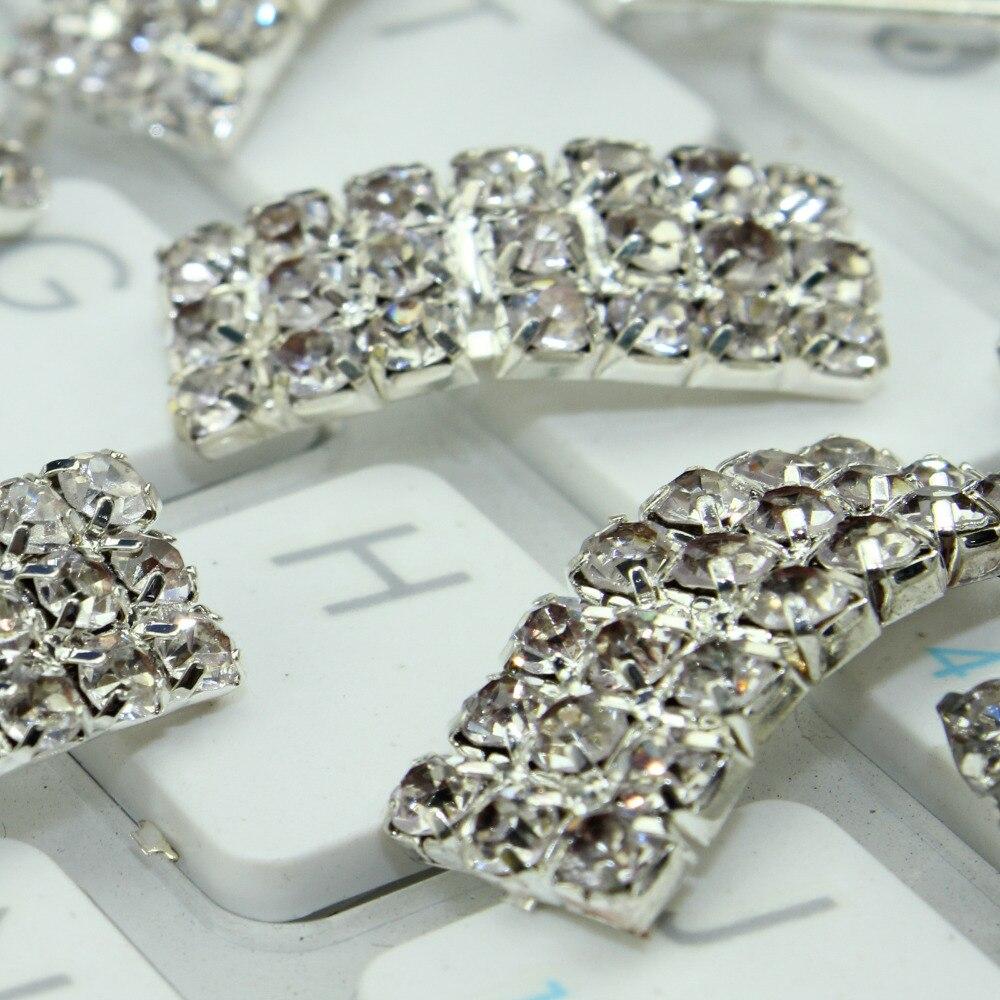 Hair bow button accessories - 20pcs 21x8x7mm Silver Rhinestone Bow Button Wedding Bow Diy Hair Accessories Silver Metal Button High