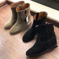 2018 Модные женские ботильоны в римском стиле из матовой замши, слипоны на скрытой танкетке, ковбойские ботинки, осенне зимние ботинки, женска