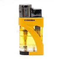 COHIBA Plastic Cigar Ligher 3 Jet Frame Torch Lighter Refillable Gas Lighters Butane Cigarette Lighters With