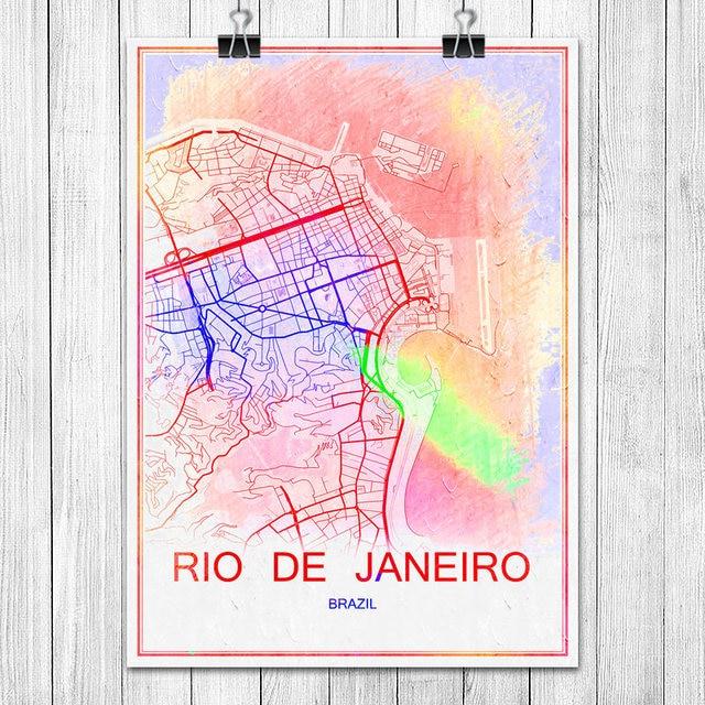 Colorful world city map rio de janeiro brazil print poster abstract colorful world city map rio de janeiro brazil print poster abstract coated paper bar cafe living gumiabroncs Images
