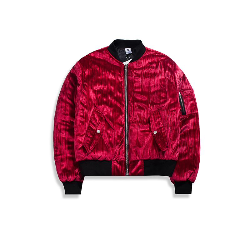 Black Aviador Hiphop Chaqueta West De Outwear Acolchada Arrugado Bomber Kanye Ligera Terciopelo red xCqHPzw