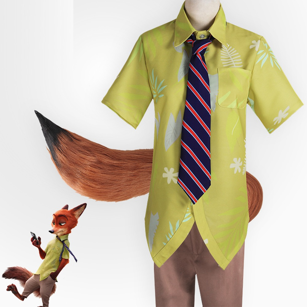 Free Shipping 2016 New Movie Zootopia Cosplay Nick Wilde Costume For Adult  Halloween party fox Cosplay 87d3f2f4e2e9