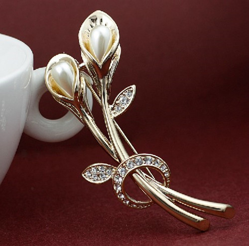 Fashion Jewellery Small Size Gold/ Silver Plated Clear Rhinestone Crystal  Wedding Bouquet Brooch Pins With Cream Pearl