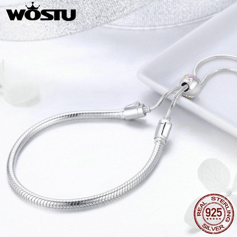 WOSTU Authentic 925 Sterling Silver Licorne Bracelet For Women Fit Charm Beads Adjustable Bracelets Silver Jewelry Chain FIB093 lukeni authentic s990 sterling silver hundred blessing word adjustable bracelet bracelets