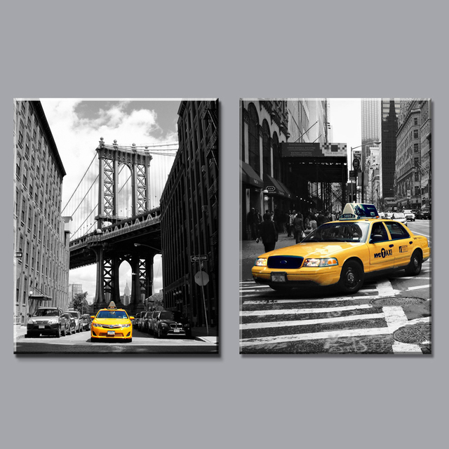 Modern black and white yellow taxi canvas painting prints new york city on wall art pictures