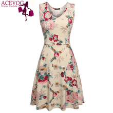 ACEVOG Brand 2017 Summer Vintage Dress Women Sexy 1950s 60s Lady Floral Print Robe Sleeveless Dresses