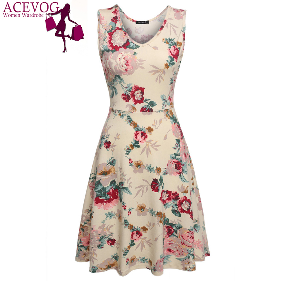 ACEVOG Marque 2018 Été Vintage Robe Femmes Sexy 1950 s 60 s Dame Imprimé Floral Robe Sans Manches Robes Feminino Vestidos mujer