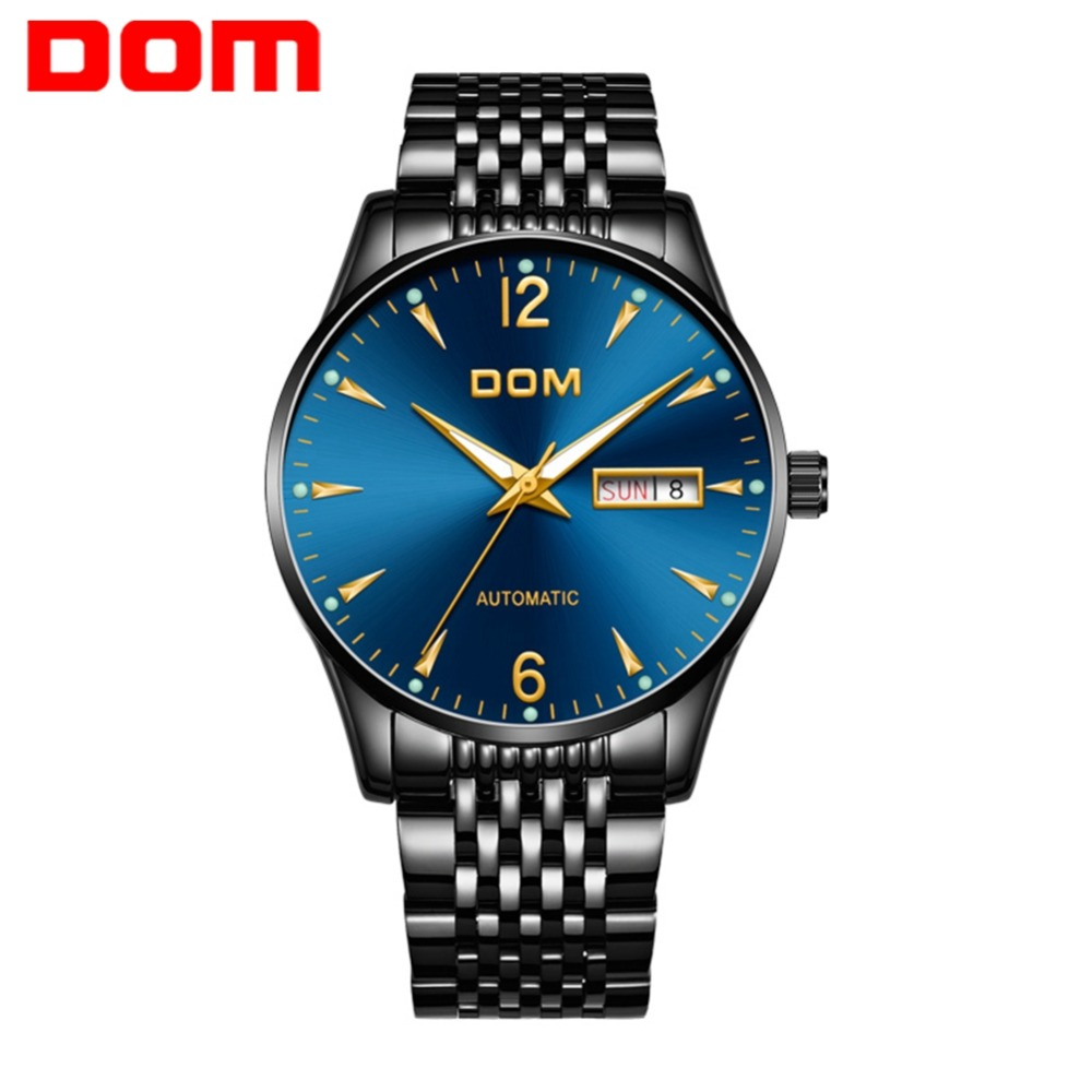 DOM Mens Watches Top Brand Luxury Automatic Mechanical Watch Men Steel Business Waterproof Watches Relogio Masculino M-89BK-2M2