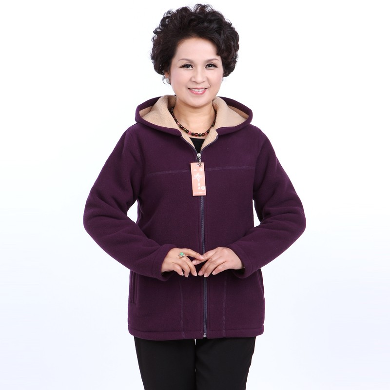 Winter Middle Aged Womens Hooded Imitation Lambs Fleece Jackets Ladies Warm Soft Velevt Coats Mother Overcoats Plus Size (24)