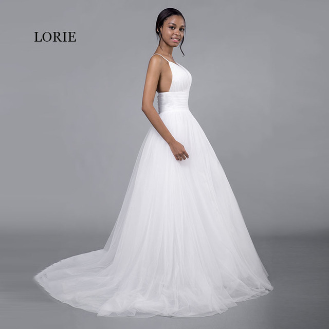 LORIE Cheap Wedding Dresses Princess Sexy Backless Spaghetti Strap Pleats Beach Tulle Real White Bridal Gown Free Shipping 2