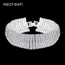 Mecresh европейские Простые Стразы, свадебные браслеты для женщин, прозрачные 8 ряд, женские вечерние браслеты, Классические свадебные ювелирные изделия, MSL341-8