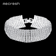Mecresh European Simple Rhinestone Bridal Bracelets for Women Clear 8 Row Ladies Party Pulseras Classic Wedding Jewelry MSL341-8
