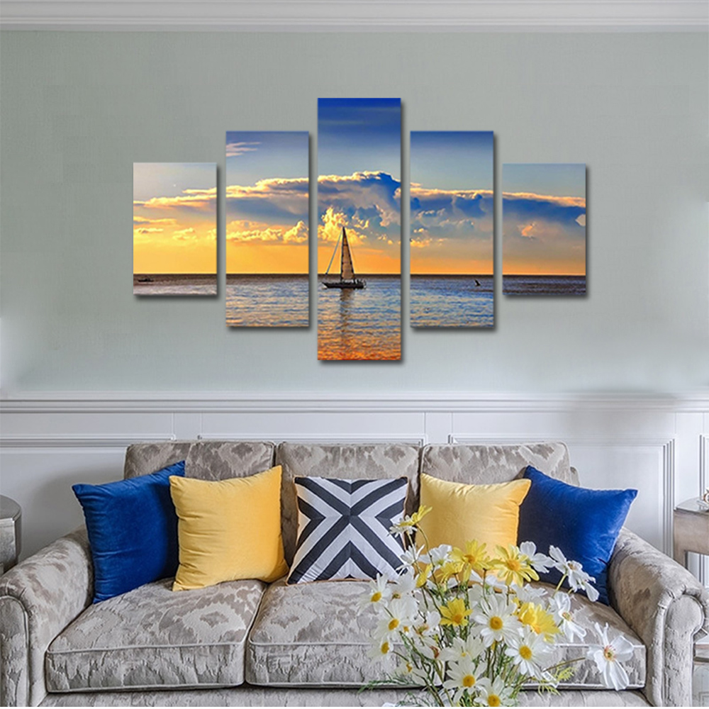 Unframed Canvas Painting Sea Level Clouds Sailboat Photo Picture Prints Wall Picture For Living Room Wall Art Decoration