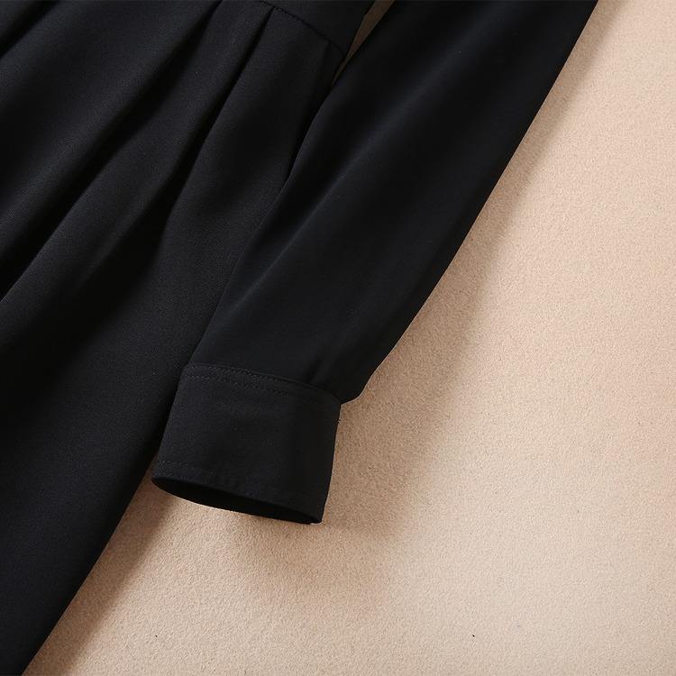 Designer Lady Formelle Femmes Manches Entaillé Noir Globale Col Qualité À Pur Longues Salopette De Truevoker Européenne Haute Office wOk8nPN0X