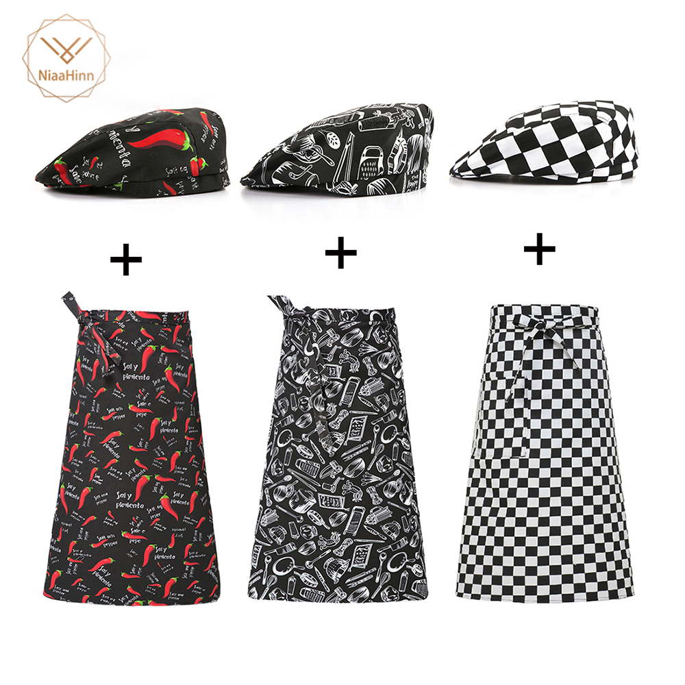 Uniform Essential Supplies Apron + Hat Kitchen Cook Aprons Work Dining Half-length Long Waist Apron Catering Chefs Hotel Waiters