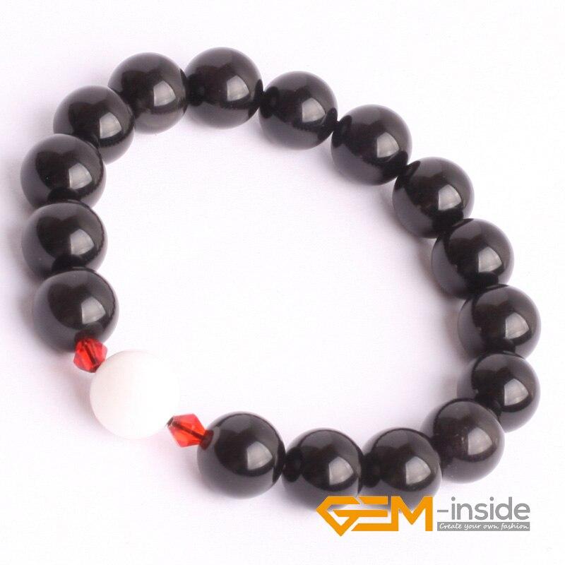 10mm black obsidian stone bracelet natural stone bracelet DIY jewelry bracelet Guardian stone for Libra free shipping