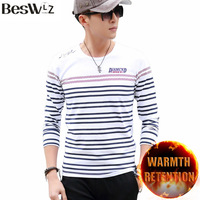 Beswlz Casual Style Men T Shirts Winter Cotton Solid Color Long Sleeve O Neck Warm Slim
