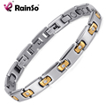 Rainso Magnetic Therapy Bracelet Titanium Metal With Crystal Gold Plated With 3 Smart Buckles Charm Bracelets Bangle For Women