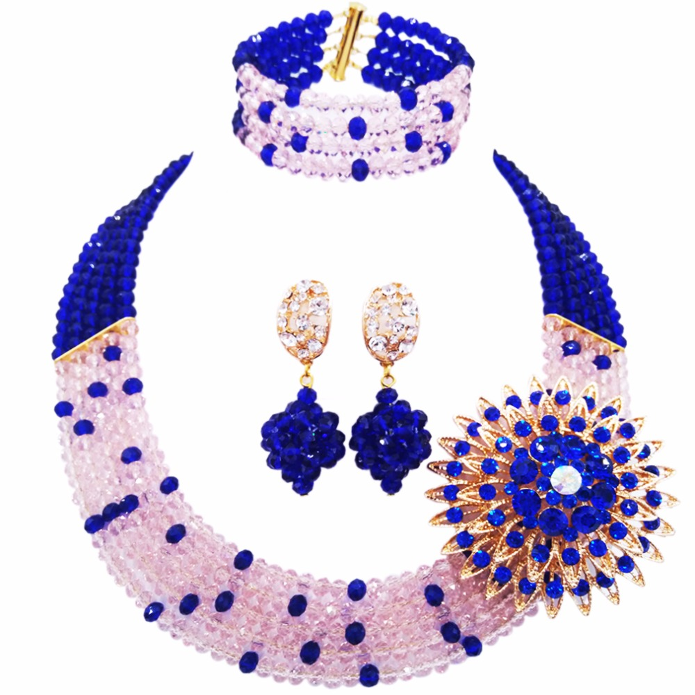 Wedding Beads Bridal Necklace Earrings Set Jewelry Sets Multi Layer Crystal Jewellery Sets