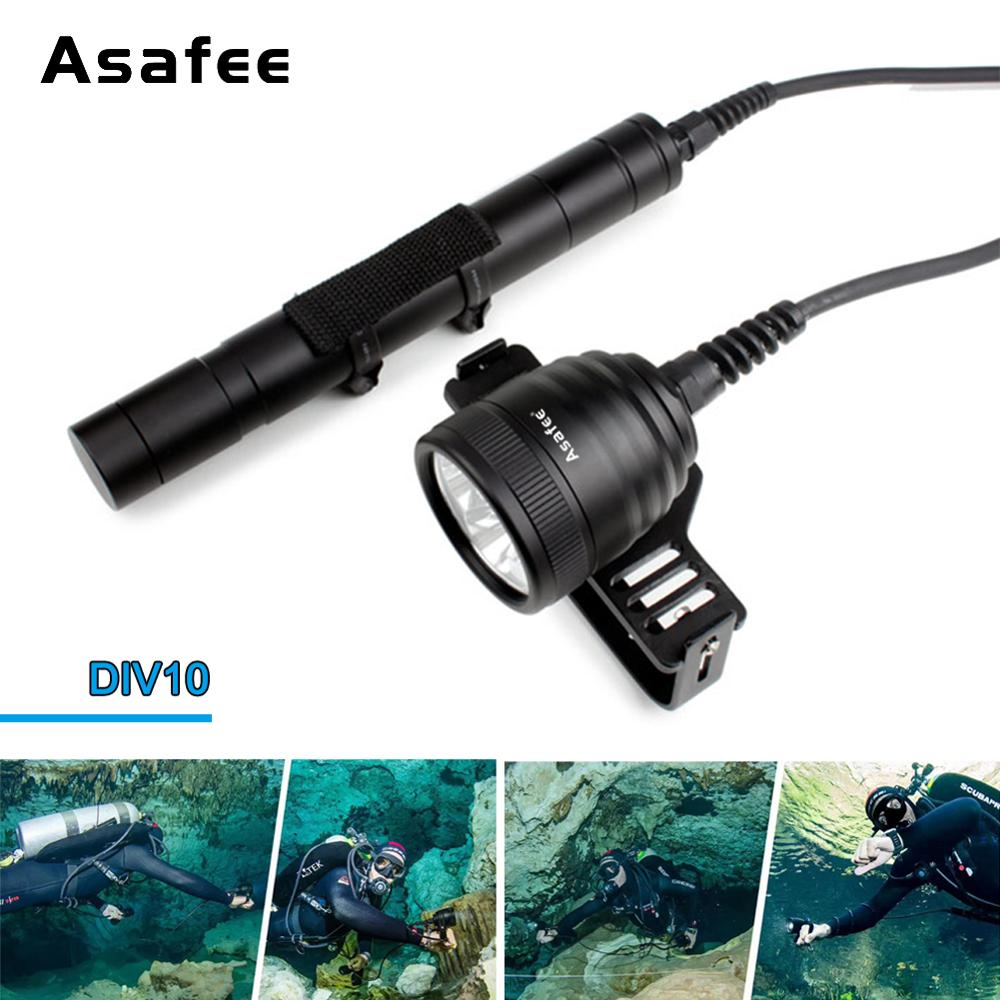 Asafee Canister Scuba Diving Light Torch 10 Degree Cree XM-L2 U4 Waterproof LED Dive Light 26650 Canister Dive Primary Light