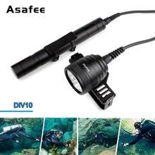Asafee teneke kutu tüplü IPX8 dalış ışığı Torch 10 derece Cree XM L2 U4 su geçirmez LED dalış lambası teneke kutu dalış birincil ışık