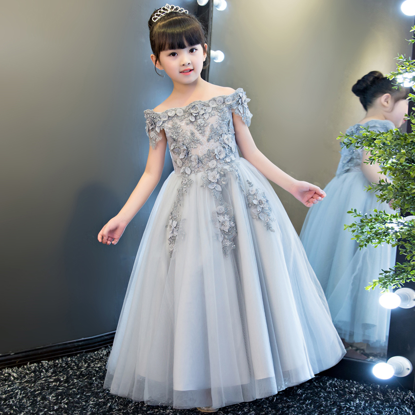 2017 New High Quality European Luxury Children Girls Embroidery Flowers Princess Lace Dress Birthday Wedding Party Long Dress 2017 new high quality girls children white color princess dress kids baby birthday wedding party lace dress with bow knot design
