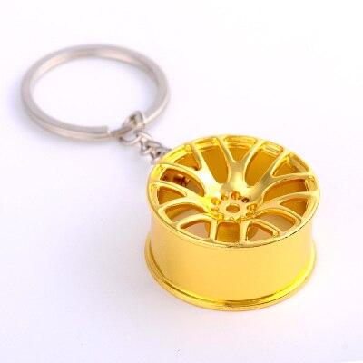 Творческий автомобиль концентратора Форма металлический брелок металлической цепочкой цинковый сплав турбины переоборудованы колесо висит аксессуар брелок подарок 2 шт - Цвет: Цвет: желтый