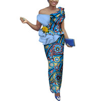 Plus Size 2019 Dashiki African Wax Print Skirt Sets Traditional Clothing for Women Bazin Riche Africa Two Piece Skirt Set WY3843