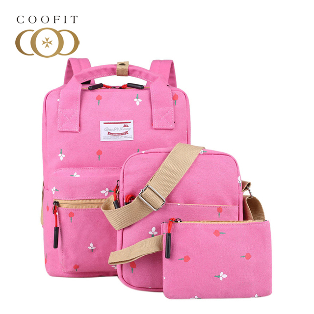Coofit Canvas Backpack Sets Women Backpack Flowers Floral Backpack Cute  School Backpack For Girls Teens With Shoulder Bag Purses 8d8b667961661