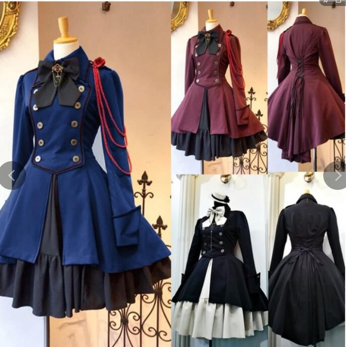 2019 Vintage Gothic Lolita Dress OP Ruffle Bow tie Button Lace Up Knee Length Dress Long Sleeve Sweet Dress image