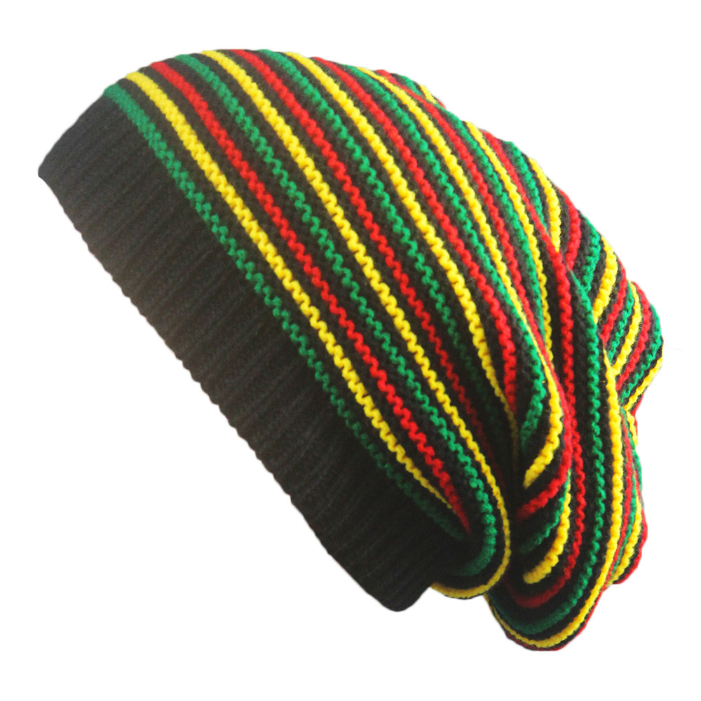 New Stylish Bob Marley Reggae Hat Jamaican Pom Slouch Baggy   Beanie   Stripe Brim Cotton Winter Warmer Visor Stripe Cap