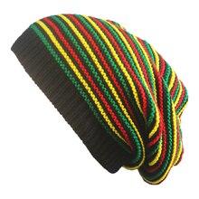 New Stylish Bob Marley Reggae Hat Jamaican Pom Slouch Baggy Beanie Stripe Brim C