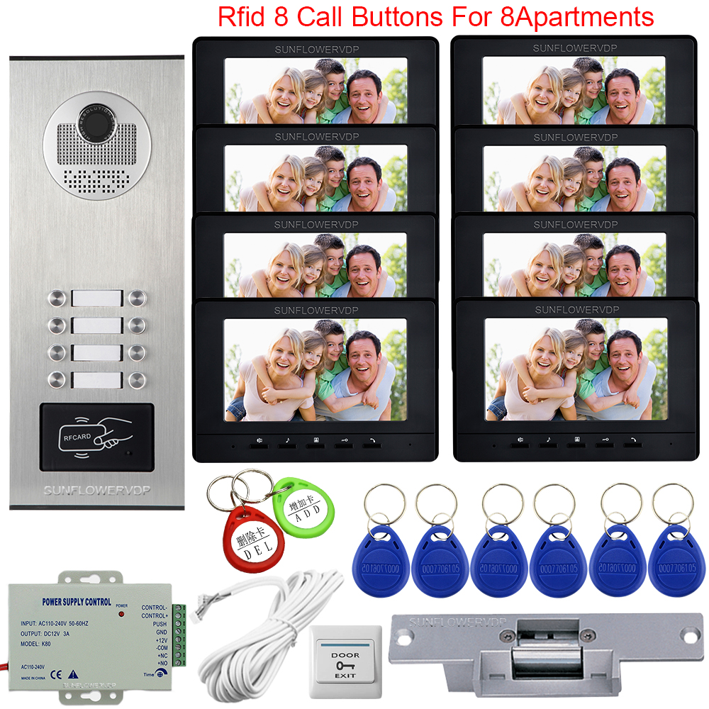 For 8 Apartments Video Door Entry System For Home Keys To The Intercom 7inch Video Intercom Access Control +Electric Strike Lock