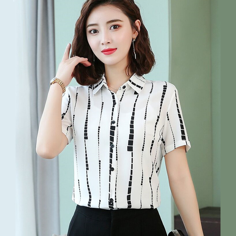 Image 3 - Fashion clothes womens blouses 2019 Summer New short sleeve  printed chiffon shirt office ladies temperament stripe slim topsBlouses & Shirts   -