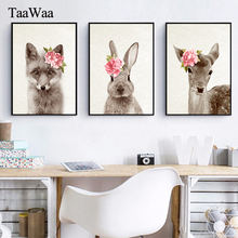 Baby Nursery Deer Rabbit Animal Flower Wall Art Canvas Painting Nordic Poster Prints Pictures Kids Room Decor Home Decoration(China)